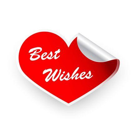 best wishes: Sticker Valentines heart best wishes Illustration