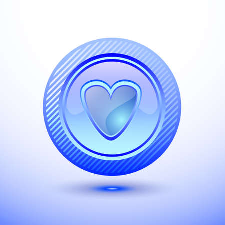 Blue button heart photo