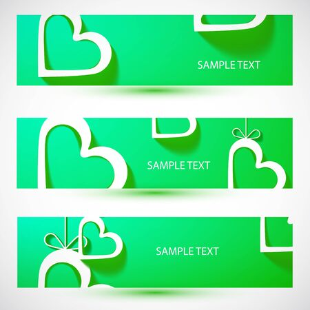 Paper heart green banner Stock Photo - 18424605