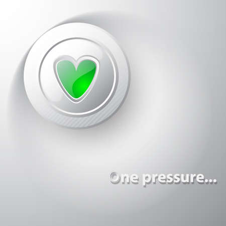 White button green heart Vector
