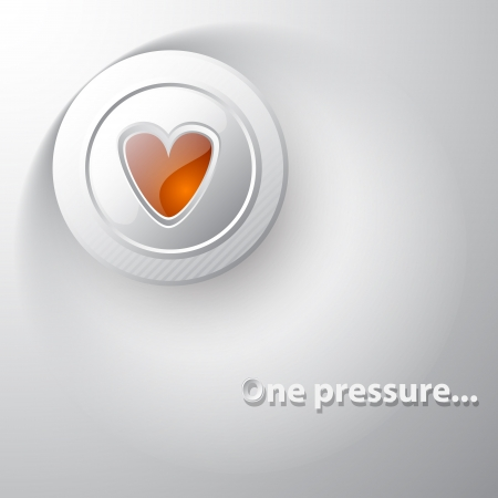 White button red heart Vector