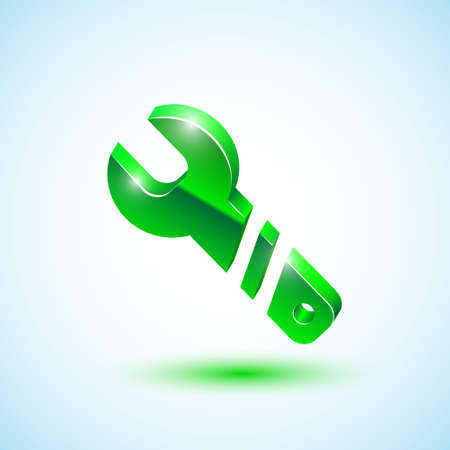 Wrench green icon