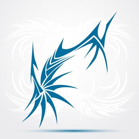 Blue Tribal tattoo. Vector illustration
