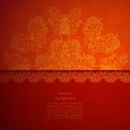 indian design: Vintage beige doodle ornament in Indian style background. Vector illustration for your business presentation Illustration