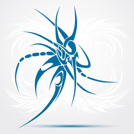 Sharp tribal tattoo. Blue Vector illustration Illustration