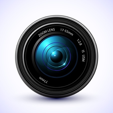 camera lens: Photography background, camera photo lens with flare