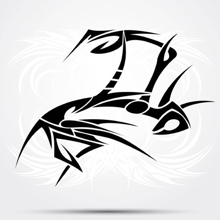 Mantes tribal. Vector illustration for tattoo saloons