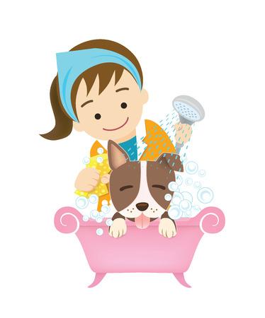 bathing: og grooming. washing pet. bathing. Illustration