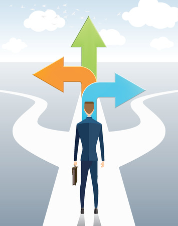 new opportunity: Businessman standing on the arrow with many directions ways, different choices , freedom, success Illustration
