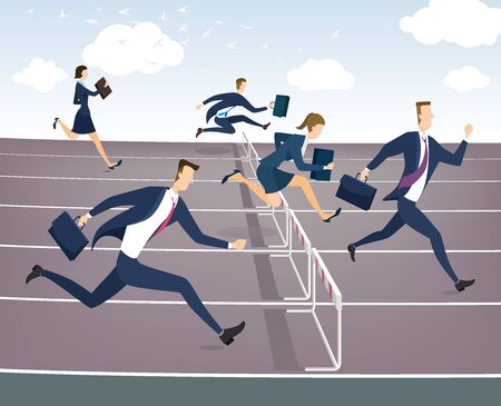 hurdles: Cartoon character, Businessman and businesswoman jumping over hurdles.
