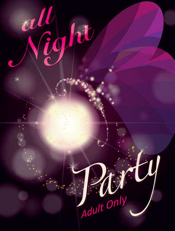 All Night Party invitation card.