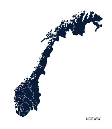 norway: Map of Norway Illustration
