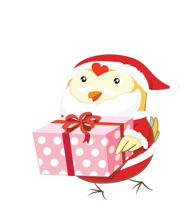santa suit: Cute Chick with santa suit and gift box- Christmas.