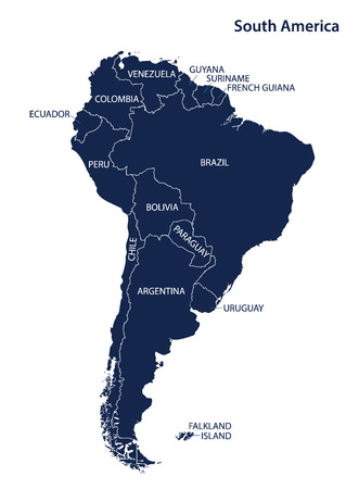 South america map and names. vector. Reklamní fotografie - 66887304