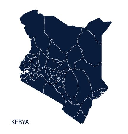 kenya: Map of Kenya. Vector.