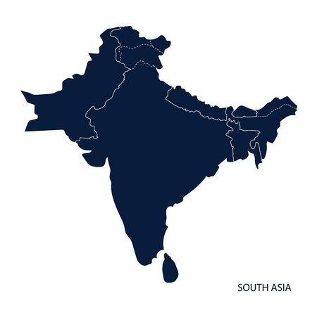 Map of South Asia. Çizim