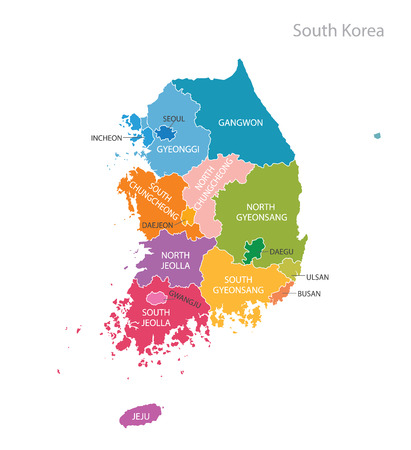Map of South Korea. Vector