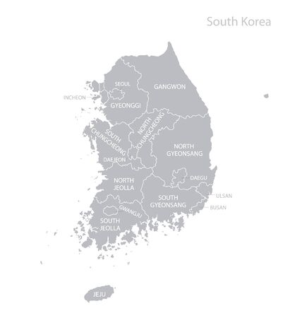 Map of South Korea with names. Vector. Çizim