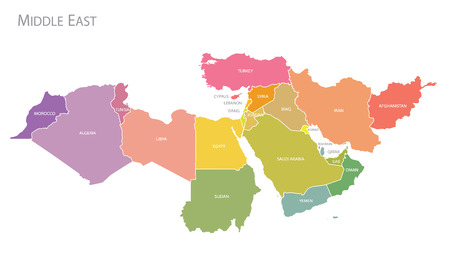 Colorful Map of Middle East. Vector