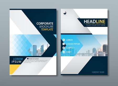 Blue yellow flyer design template vector, Leaflet cover presentation abstract flat background, book cover templates, layout in A4 size.