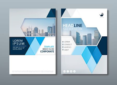 Blue annual report brochure flyer design template, Leaflet cover presentation, book cover, layout in A4 size. Иллюстрация