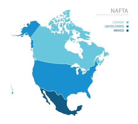 nafta: Map of NAFTA (North American Free Trade Agreement)