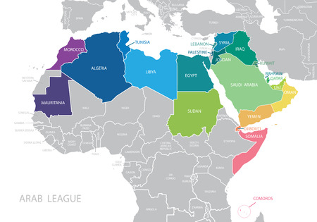 Map of Arab League. Vector.