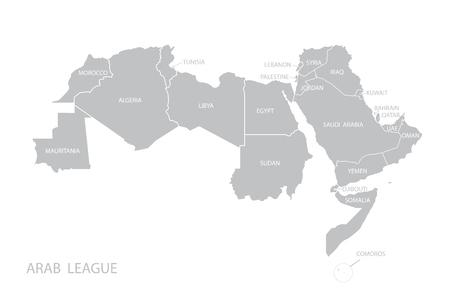 アラブ連盟の地図。ベクトル。