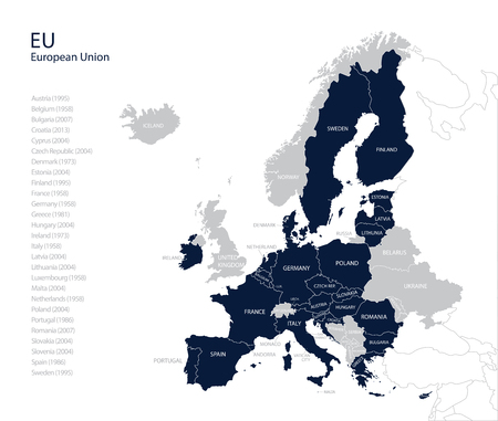 Political map of EU (European Union) without United kingdom, England. Brexit. Vector