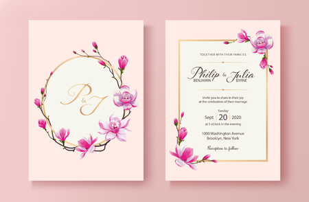 Beautiful pink floral wedding invitation card. Vector. Magnolia flower. Standard paper size 5x7 inch. Ilustração