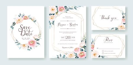 Wedding Invitation, save the date, thank you, rsvp card Design template. Vector. Ranunculus and white rose with greenery
