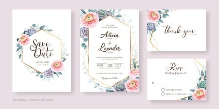 Floral wedding Invitation, save the date, thank you, rsvp card Design template. Ranunculus flower and succulent. Vector. Vetores