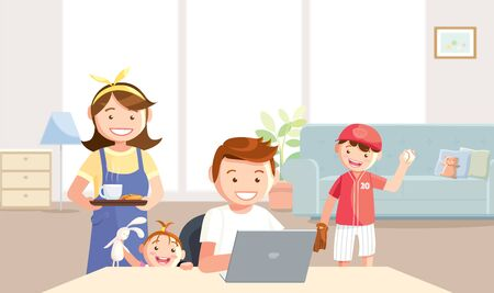 Mother takes care of father who tries to work at home. The son and daughter want to play with their father, being home between the Coronavirus (Covid-19) protection. Vector in a flat style.