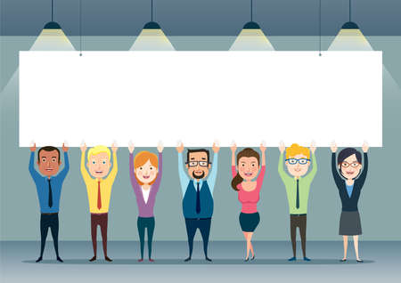 Happy smiling business team holding a blank billboard, banner. Different nationalities and dress styles. Vector illustration in a flat style.