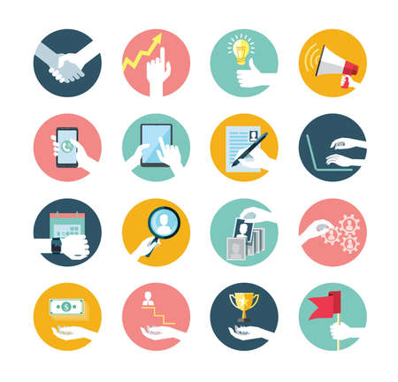 Flat vector collection of hand using devices icon, for human resources, recruitment process.