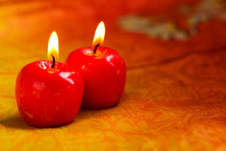 Indian festival Diwali , Glowing apple shape candle