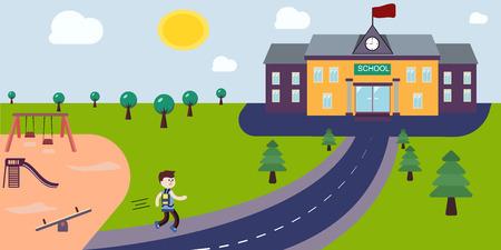 Student gaat naar school lopen