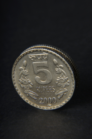 five rupee: Five Rupee Indian coin Stock Photo