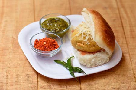 Vada Pav or Wada Pav,Indian Desi Burger is a street food dish from Mumbai, Maharashtra. Indian street food,Selective focus