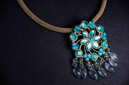 Blue diamond stones pendant, Indian Traditional jewelry Фото со стока