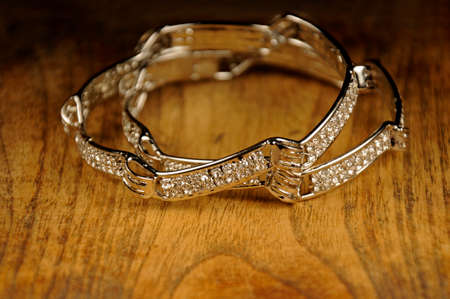 Diamond bangles on wooden background, Indian Traditional jewelry