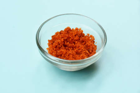 Garlic peanut dry chutney, Maharashtrian authentic food,Red curry paste in glass bowl, basic ingredients for Indian curry or gravy made with various spices