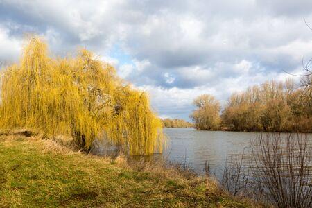 Il pascolo sul fiume accoglie la primavera. Ma il cielo è pieno di nuvole ¸krotzenbrug, Germania Archivio Fotografico - 93929879