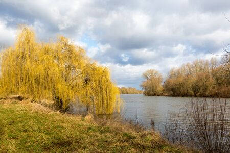 The pasture at the river welcomes the spring. But the sky is full of clouds ¸krotzenbrug, Germany Banco de Imagens