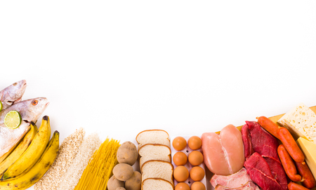 carbohydrates: Proteins and Carbohydrates white background Stock Photo