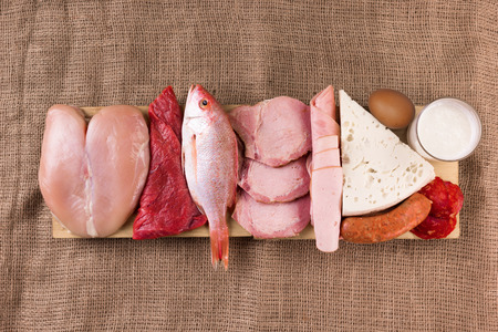Protein diet: raw products on the wooden background 版權商用圖片 - 63770240