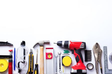 Handwerkzeuge auf weißem Hintergrund Standard-Bild