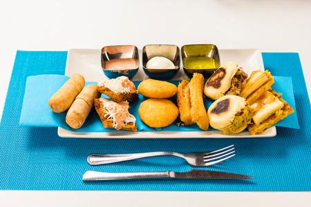Tasting dish with venezuelan typical food