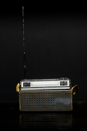 Radio cassette on black