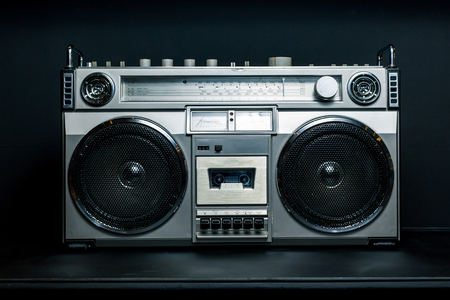 Vintage radio boombox on dark background
